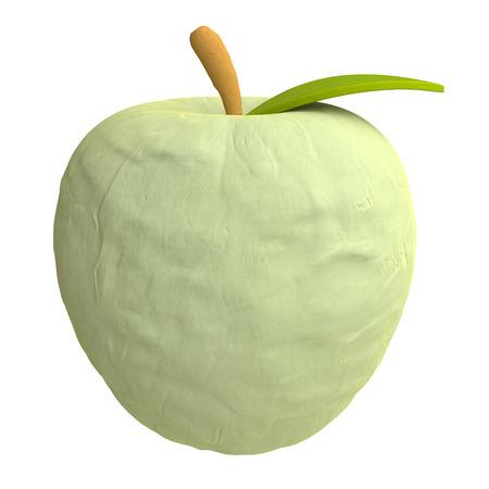 plasticine: Cartoon apple from plasticine or clay