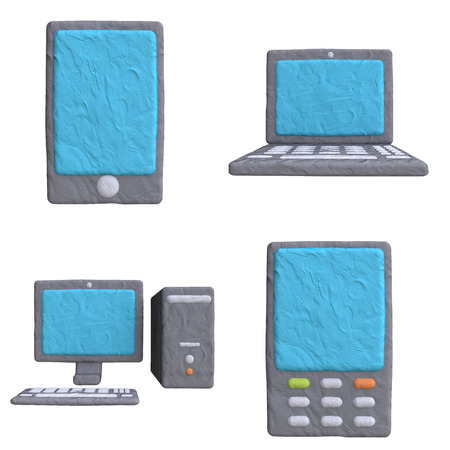 Electronic mobile device from plasticine or clay photo