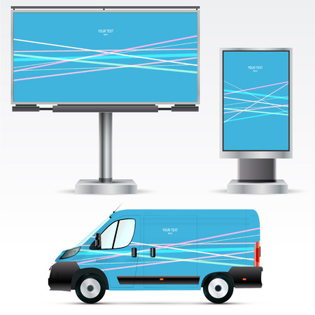 outdoor advertising: Template outdoor advertising or corporate identity on the car, billboard and citylight.