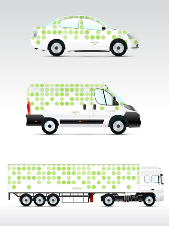 Template vehicle for advertising, branding or corporate identity. Passenger car, truck, bus. Vector