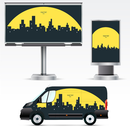citylight: Template outdoor advertising or corporate identity on the car, billboard and citylight.