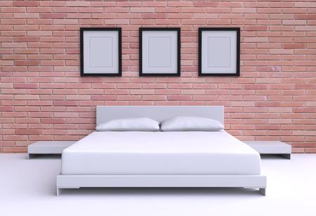 headboard: Modern bed with two pillows, tables and three picture frame from the walls of the room. 3d illustration.