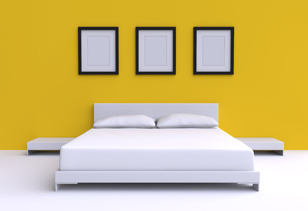 Modern bed with two pillows, tables and three picture frame from the walls of the room. 3d illustration. illustration