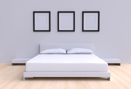 2 つの枕、テーブル部屋の壁から 3 額縁とモダンなベッド。3 d イラスト。