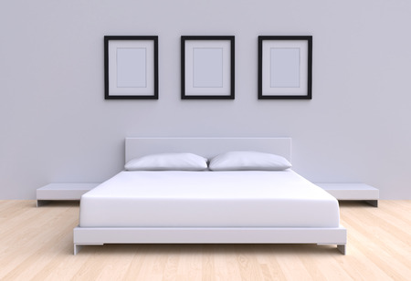Modern bed with two pillows, tables and three picture frame from the walls of the room. 3d illustration.