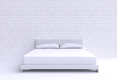 headboard: Modern bed with two pillows against the wall of the room. 3d illustration.