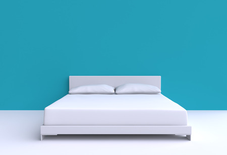 one bedroom: Modern bed with two pillows against the wall of the room. 3d illustration.