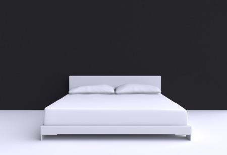 部屋の壁に 2 つの枕とモダンなベッド。3 d イラスト。 写真素材