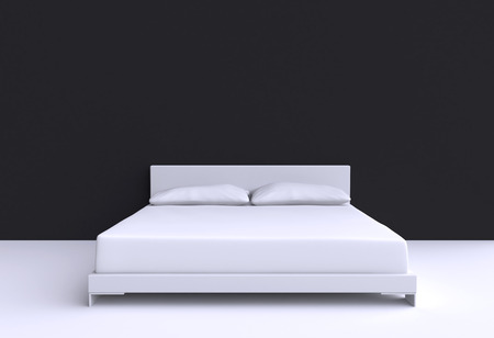 Modern bed with two pillows against the wall of the room. 3d illustration.