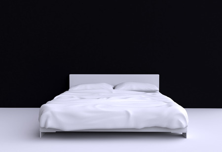 one bedroom: Modern bed with two pillows and a blanket against the wall of the room. 3d illustration. Stock Photo