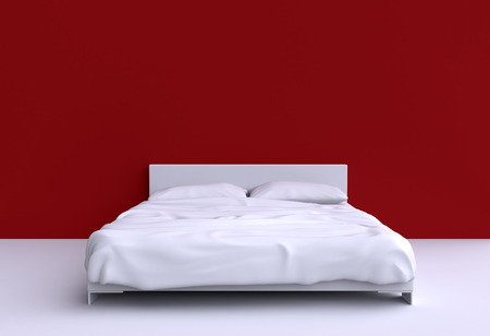 headboard: Modern bed with two pillows and a blanket against the wall of the room. 3d illustration. Stock Photo