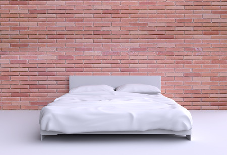 Modern bed with two pillows and a blanket against the wall of the room. 3d illustration. illustration