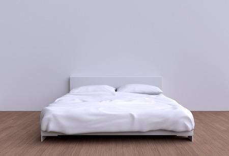 2 つの枕と毛布を部屋の壁のモダンなベッド。3 d イラスト。
