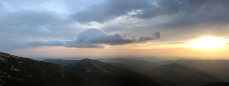 Morning panorama of the mountains photo
