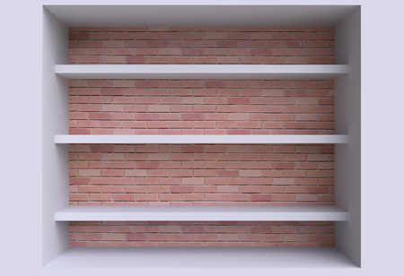 three shelves: Three shelves on the wall. 3d illustration. Stock Photo