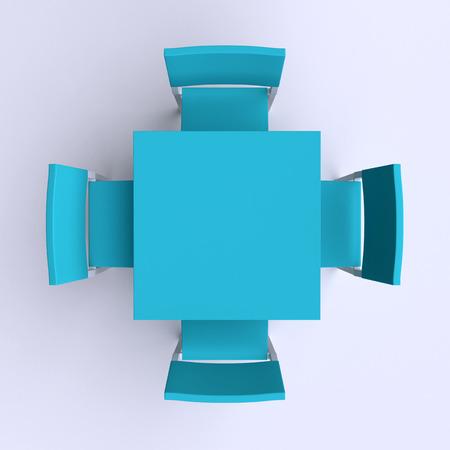 sillon: Mesa cuadrada con cuatro sillas. Vista superior. 3d ilustraci�n.