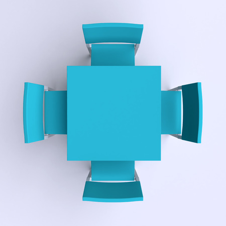 Square table with four chairs. Top view. 3d illustration.