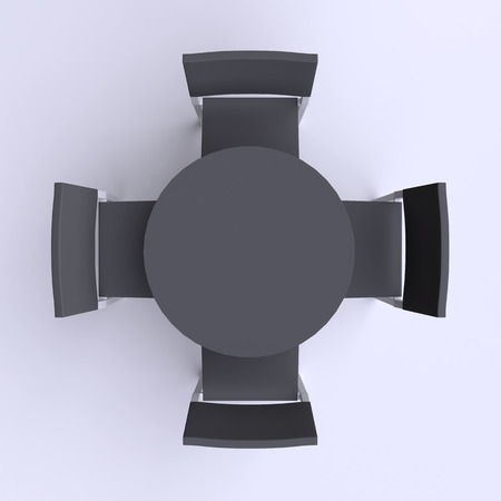a chair: Round table with four chairs. Top view. 3d illustration.