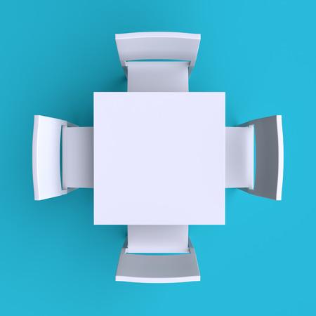 椅子 4 脚付き正方形のテーブル。平面図です。3 d イラスト。 写真素材