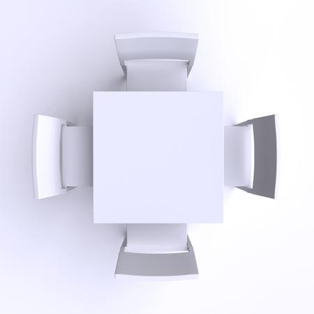 네 개의 의자 광장 테이블. 평면도. 3D 그림입니다. 스톡 콘텐츠