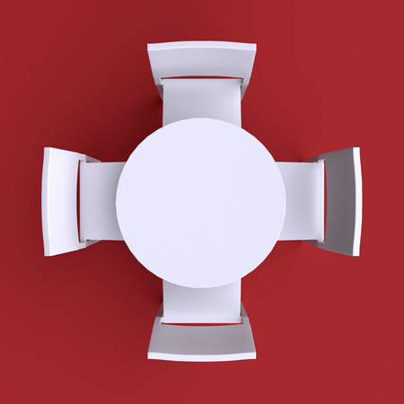 table top: Round table with four chairs. Top view. 3d illustration.