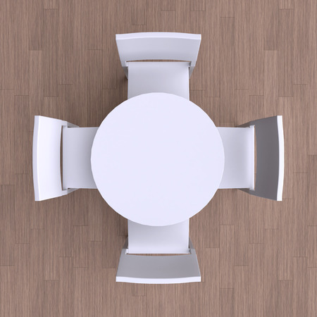 Round table with four chairs. Top view. 3d illustration.