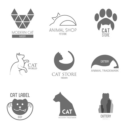 Logo inspiration for shops, companies, advertising  with cat Illustration