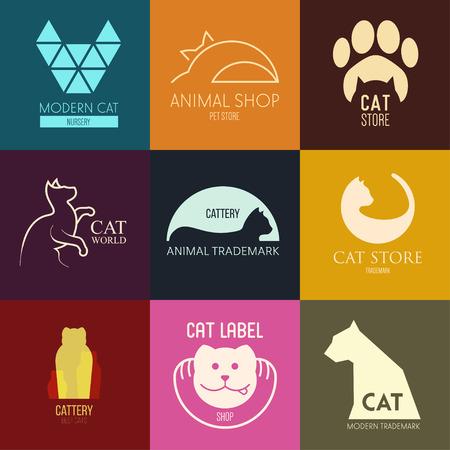 silueta de gato: Logo inspiración para las tiendas, las empresas, la publicidad con el gato Vectores