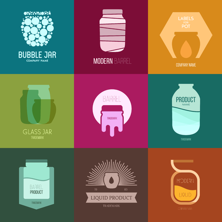 medical abstract: Vector Illustration, graphic elements editable for design with barrel, pot or jar.