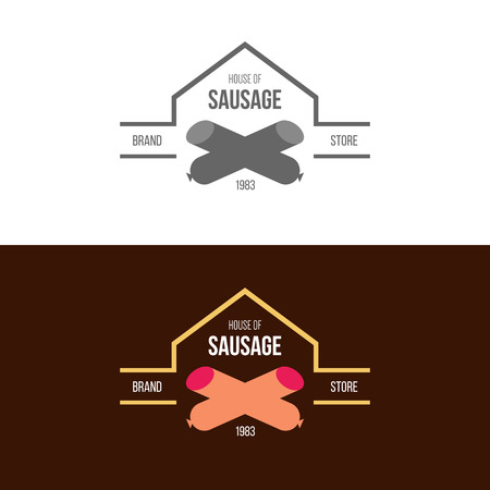 wiener: Vector Illustration, graphic elements editable for design with sausage and other meat products.