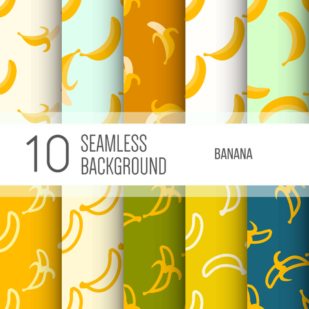 eating banana: 10 seamless backgrounds or patterns with banana.