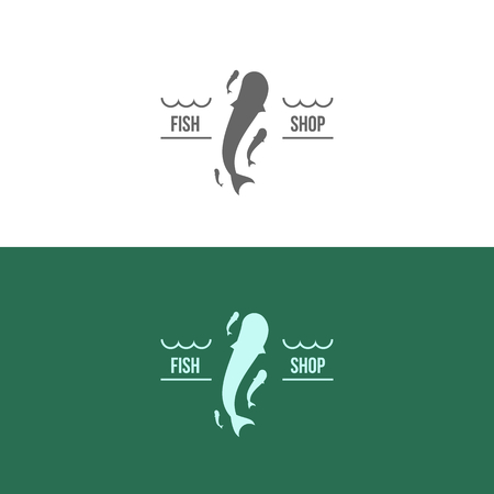 Vector Illustration, graphic elements editable for design with fish. Illustration