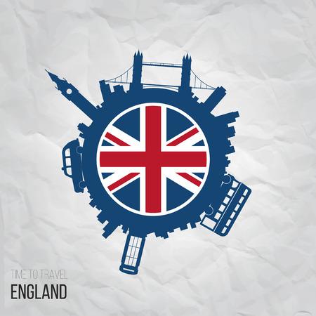 Ontwerp inspiratie of ideeën voor England.Attractions en verenigingen Stock Illustratie