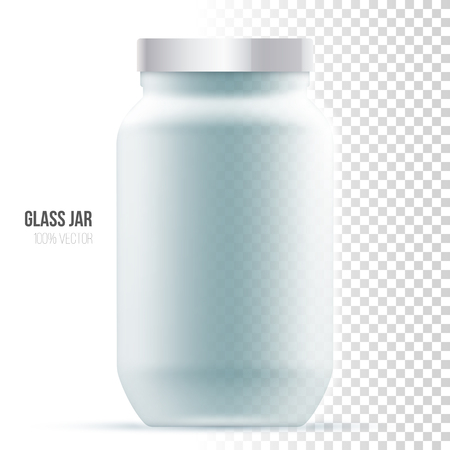 package design: Template of glass jar on a white background. Illustration