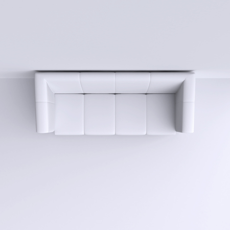 digital illustration: Simple sofa in the corner of the room. Top view. 3d illustration. Stock Photo