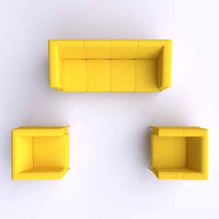 silla: Sofá y dos sillas. Vista superior.