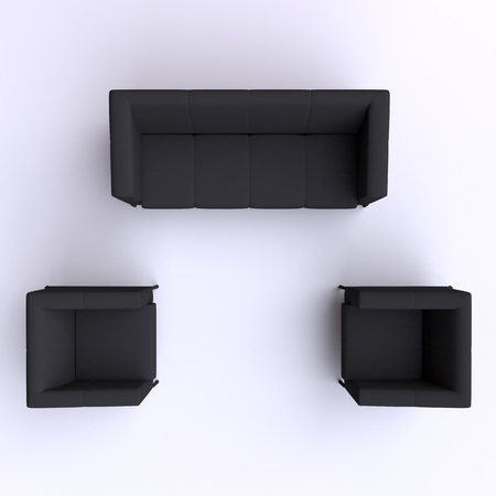 leather armchair: Sofa and two chairs. Top view. Stock Photo