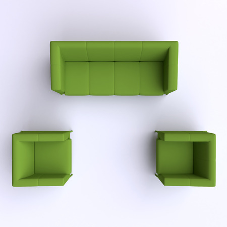 leather couch: Sofa and two chairs. Top view. Stock Photo