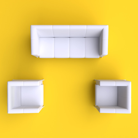 two on top: Sofa and two chairs. Top view. Stock Photo