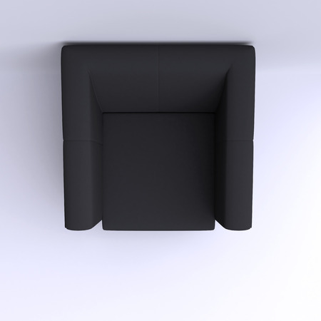 side view: Easy chair in corner of the room. Top view. 3d illustration.