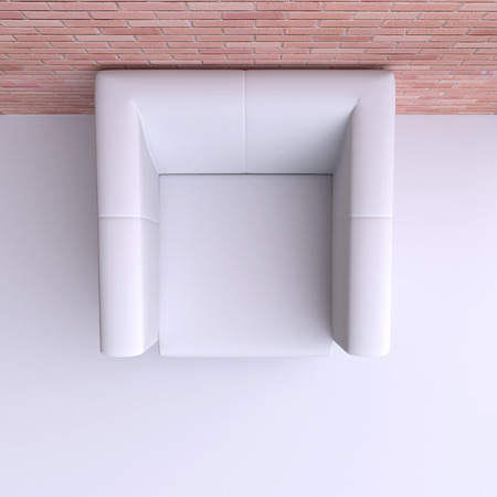 easy chair: Easy chair in corner of the room. Top view. 3d illustration.