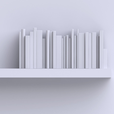 school books: Shelf on the wall with books or magazines. Stock Photo