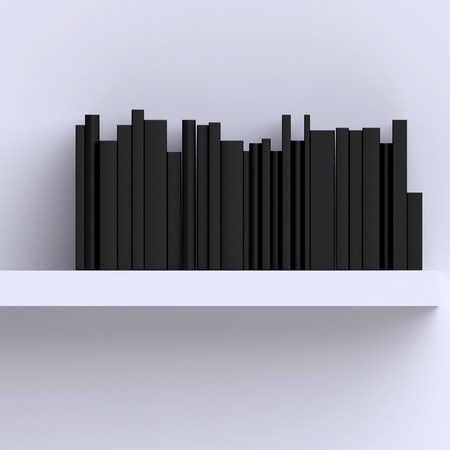 shelf with books: Shelf on the wall with books or magazines. Stock Photo