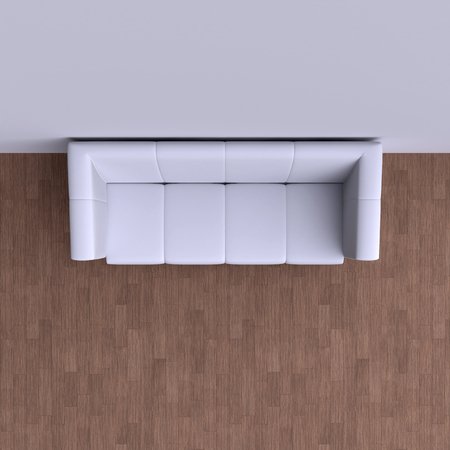 sofa: Simple sofa in the corner of the room. Top view. 3d illustration. Stock Photo