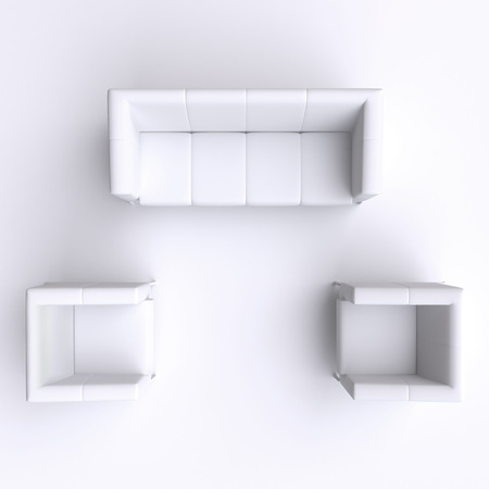 sofa furniture: Sofa and two chairs. Top view. Stock Photo