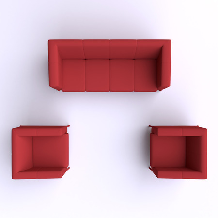 sofas: Sofa and two chairs. Top view. Stock Photo