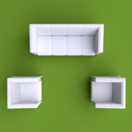 tops: Sofa and two chairs. Top view. Stock Photo