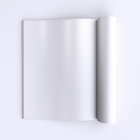 mockup: Template blank pages of an open journal, newspapers or books. 3d illustration. Top view. Stock Photo