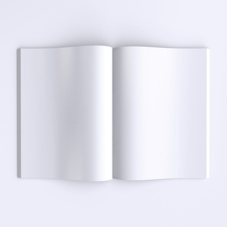 Template blank pages of an open journal, newspapers or books. 3d illustration. Top view. 스톡 콘텐츠
