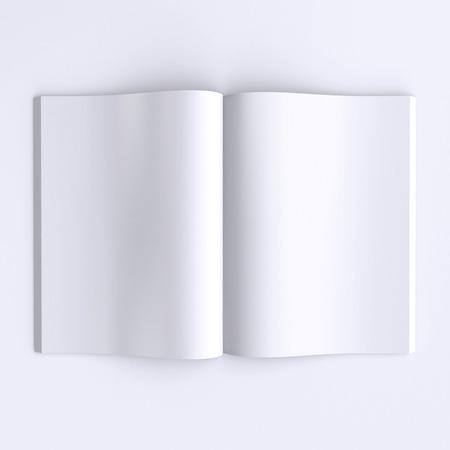 hoja en blanco: Páginas en blanco de la plantilla de una revista abierta, periódicos o libros. 3d ilustración. Vista superior.